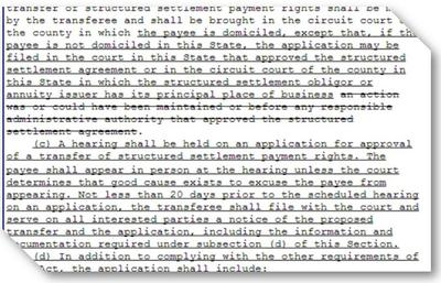 Fragment of Illinois Structured Settlement PA Revisions